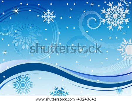 winter wonderland wind snowflakes and wave - stock vector