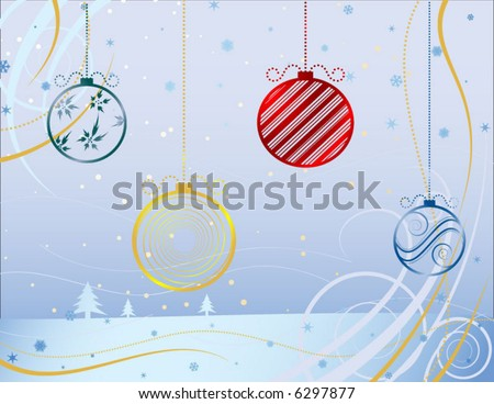 winter wonderland with christmas balls - stock vector