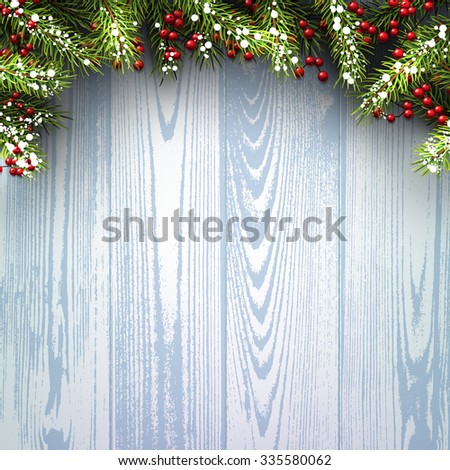 Winter wooden background with fir branches. Vector paper illustration. - stock vector