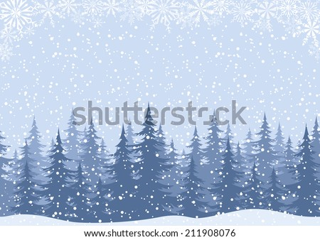 Winter woodland landscape with spruce fir trees and snowflakes, white and blue silhouettes. Vector - stock vector