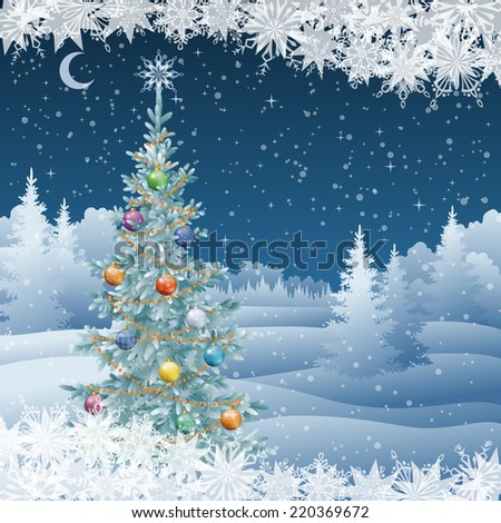 Winter woodland night landscape with decorated holiday Christmas tree and snowflakes. Eps10, contains transparencies. Vector - stock vector