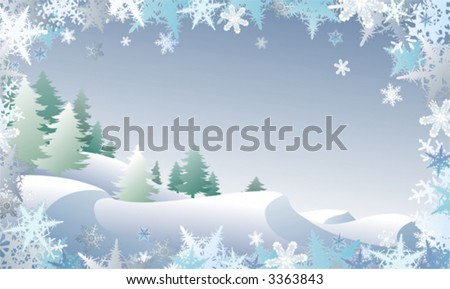 Winterscape framed by snowflake border, also available in high-res jpg