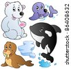 Wintertime animals collection 1 - vector illustration. - stock vector