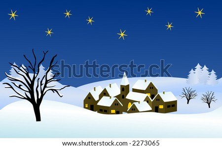 wintry christmas landscape (vector)
