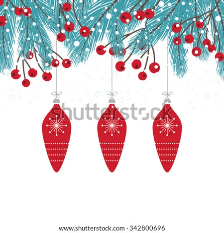 Wintry Fir Twig Decoration with Bauble - stock vector