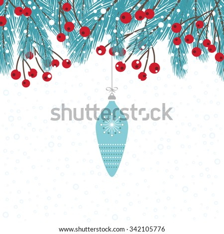 Wintry Fir Twigs Decoration with Bauble - stock vector