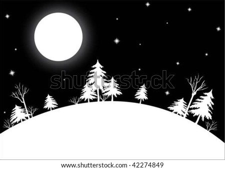 wintry view - stock vector