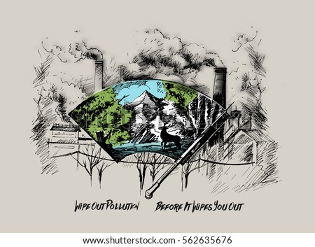 Wipe out city against pollution, Hand Drawn Sketch Vector illustration.