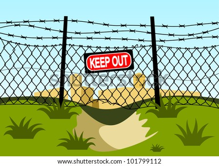 Wire fence with barbed wires. Hole under the fence - stock vector