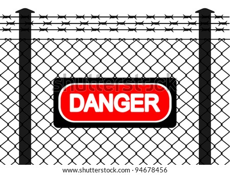 Wire fence with barbed wires. Vector illustration - stock vector