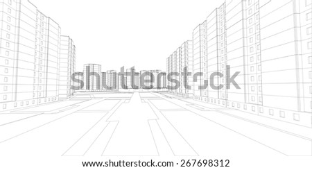 Wire-frame buildings and street. Vector illustration, 3d render