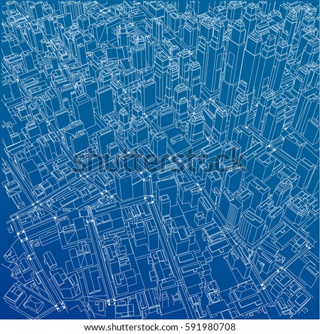 Architecture Design Background wireframe city blueprint style 3d rendering stock vector 591980708