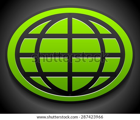 Wire-frame globe on green oval over dark backdrop - stock vector
