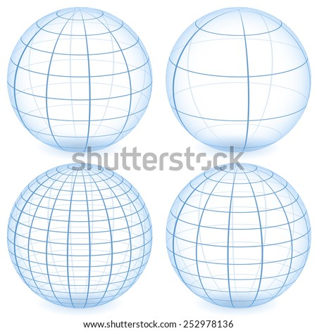 Wire-frame, grid spheres - stock vector