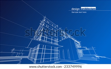 Wire frame hotel - stock vector