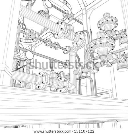 Wire-frame industrial equipment. EPS 10 vector format - stock vector