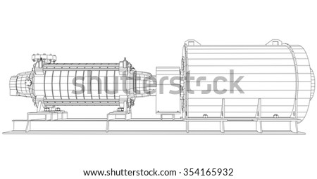 Wire-frame industrial equipment oil and gas pump. Tracing illustration of 3d. EPS 10 vector format.