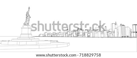 Wireframe new york city blueprint style stock photo photo vector wire frame new york city blueprint style 3d rendering vector illustration architecture malvernweather Image collections