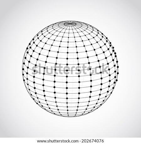 Wire frame sphere. Vector illustration. - stock vector
