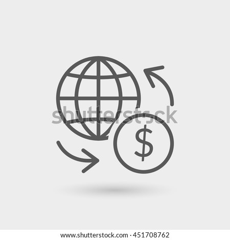 Wire Transfer Thin Line Icon Isolated Stock Vector 451708762 ...