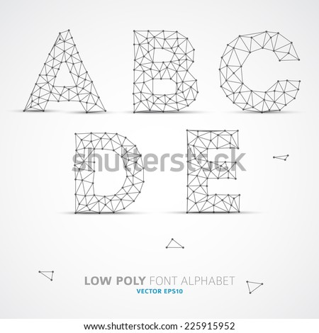 Wire Vector low poly alphabet font with shadow - stock vector