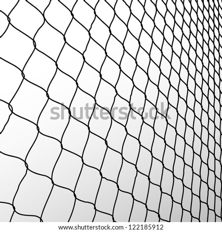 wired fence in perspective - illustartion - stock vector