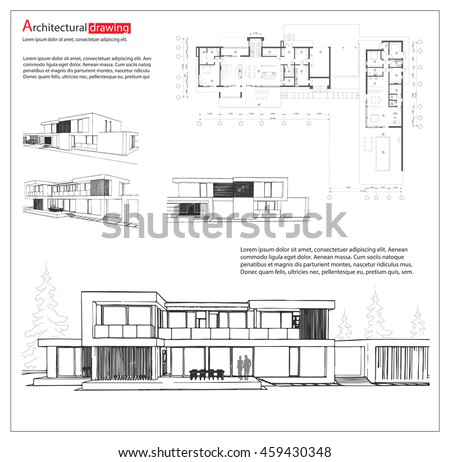 Wireframe blueprint drawing 3 d building house stock vector wireframe blueprint drawing of 3d building house vector architectural template background malvernweather Choice Image