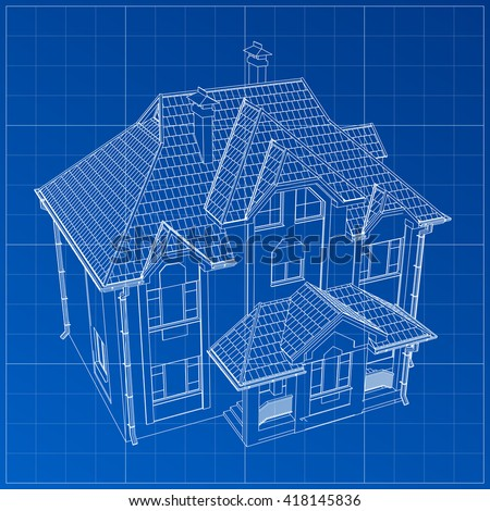 Easy edit vector illustration blueprint building vectores en stock wireframe blueprint drawing of 3d building vector architectural template background malvernweather Choice Image