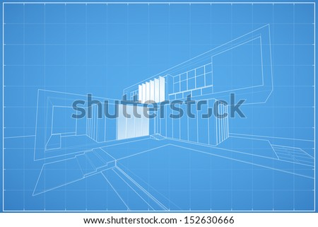 Wireframe blueprint drawing of modern house - Vector illustration - stock vector