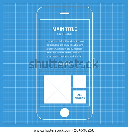 Wireframe blueprint mobile app ui kit stock vector 284630258 wireframe blueprint mobile app ui kit about with text info screen malvernweather Image collections