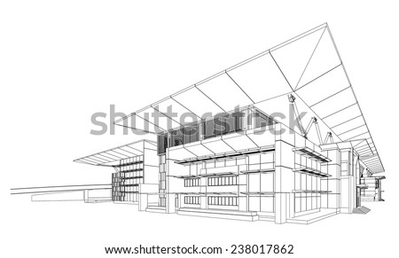 Wireframe building - Vector illustration  - stock vector
