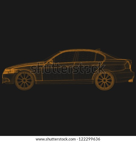 wireframe car front - stock vector
