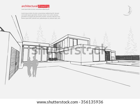 Vector Architectural Template Background Architectural Drawing