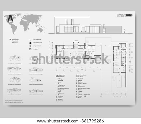 Wireframe drawing of 3D building. Vector architectural template background. Architectural drawing. Architectural theme. - stock vector
