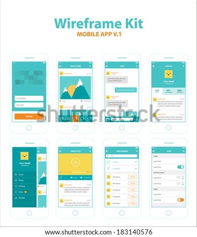 Wireframe Kit Mobile App v.1 - stock vector