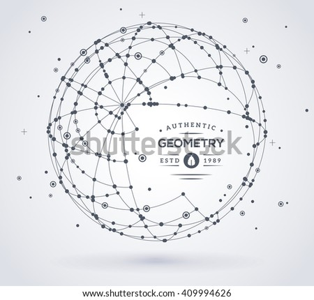 Wireframe mesh broken spherical element. Sphere with connected lines and dots. Connection Structure. Geometric Modern Technology Concept. Digital Data Visualization. Place for text message - stock vector