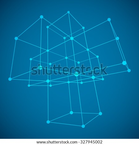 Wireframe Mesh Cubes. Connected dots and lines. Connection Structure. Digital Data Visualization Concept. Vector Illustration.