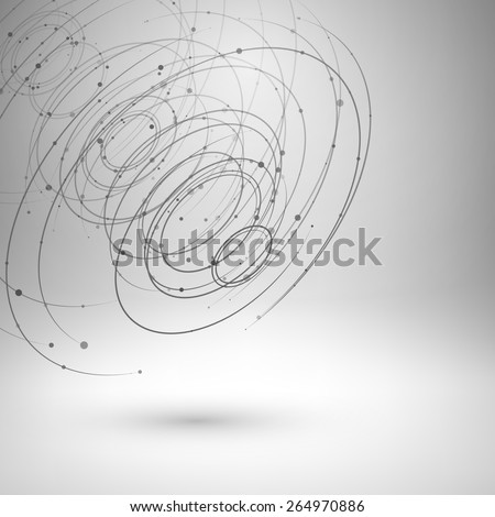 Wireframe mesh element. Abstract swirl form with connected lines and dots. Vector Illustration EPS10. - stock vector