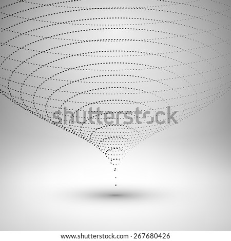 Wireframe mesh element. The funnel consisting of points. Vector Illustration EPS10. - stock vector