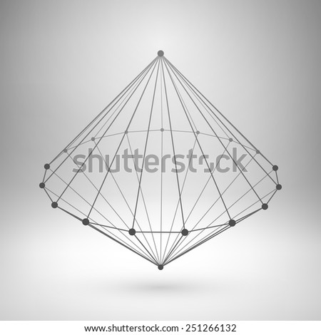 Wireframe mesh polygonal element. Cone with connected lines and dots. Vector Illustration EPS10. - stock vector