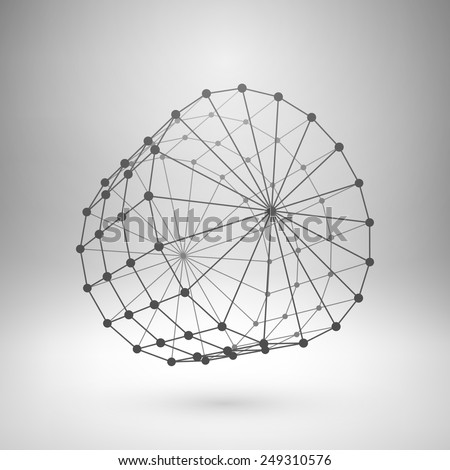 Wireframe mesh polygonal element. Cylinder with connected lines and dots. Vector Illustration EPS10 - stock vector