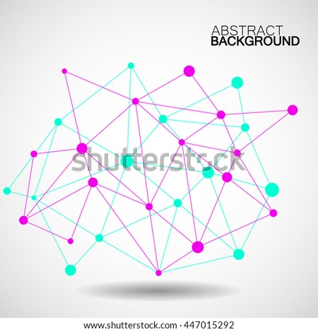 Wireframe mesh with dot and line, network connection, abstract form, vector illustration, eps10 - stock vector