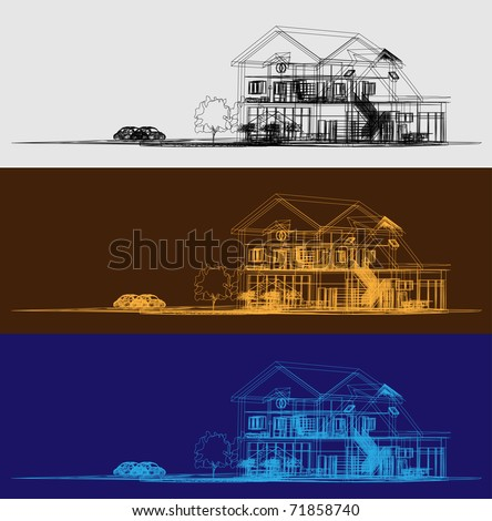 Wireframe Of Cottage - stock vector