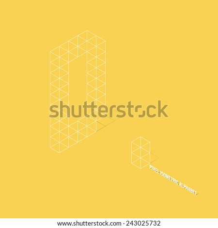 Wireframe Pixel Isometric Alphabet Letter A - Vector Illustration - Flat Design - Typography - stock vector