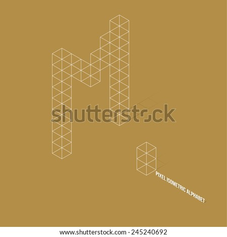 Wireframe Pixel Isometric Alphabet Letter M - Vector Illustration - Flat Design - Typography - stock vector
