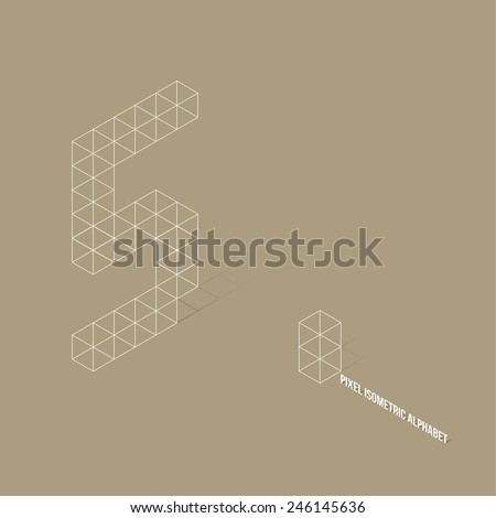 Wireframe Pixel Isometric Number 5 - Vector Illustration - Flat Design - Typography - stock vector