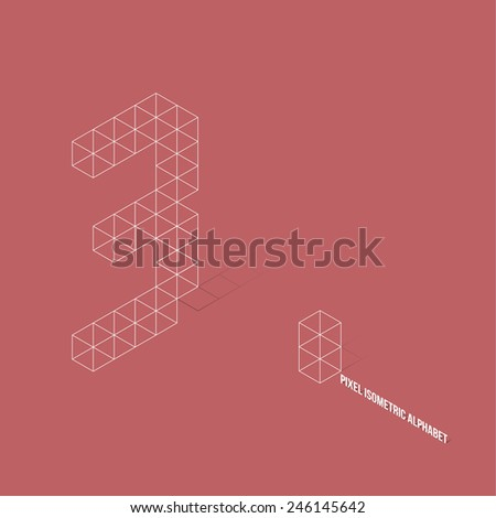 Wireframe Pixel Isometric Number 3 - Vector Illustration - Flat Design - Typography - stock vector