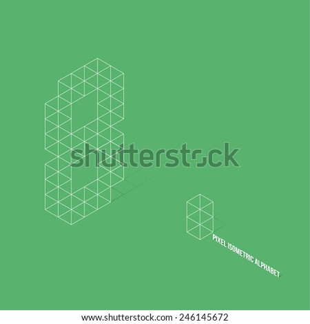 Wireframe Pixel Isometric Number 8 - Vector Illustration - Flat Design - Typography - stock vector