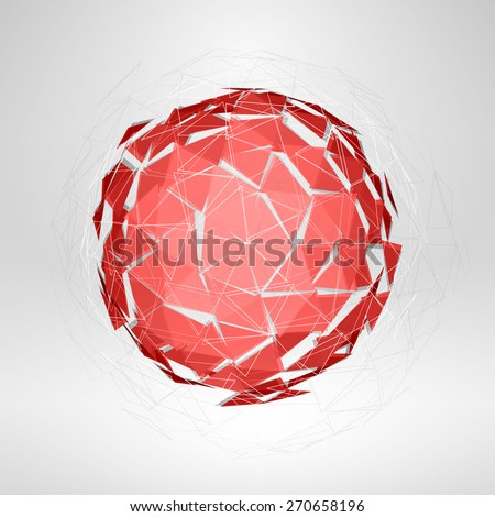 Wireframe polygonal element. Explosion of Red 3D Sphere abstract vector background - stock vector