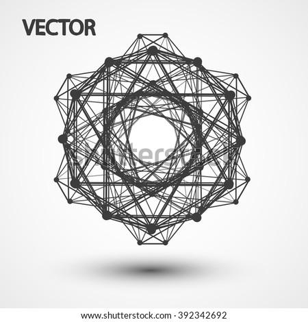 Wireframe polygonal elements eps10, vector elegant  shape illustration - stock vector